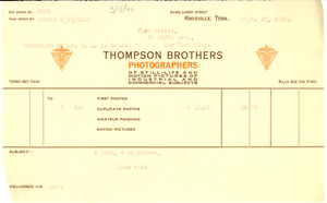 Invoice from Thompson Brothers Photographers