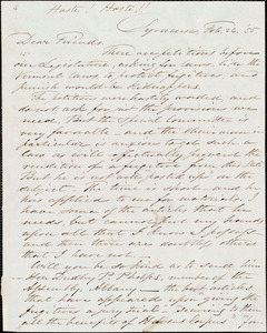 Letter from Samuel Joseph May, Syracuse, [N.Y.], to William Lloyd Garrison, Samuel May, Jr., Wendell Phillips, and Robert Folger Wallcut, Feb[ruary] 26 [18]55