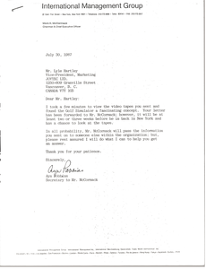 Letter from Ayn Robbins to Lyle Hartley