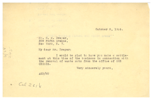 Letter from A. G. Dill to M. M. Dreyer