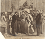 Event in the history of the National Congress : the Hon. John Willis Menard, colored representative from Louisiana, receiving the congratulations of his friends on the floor of [the] House, Dec. 7th, 1868
