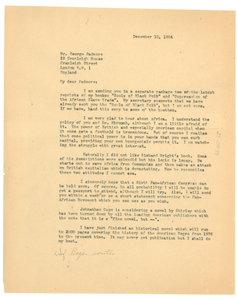 Letter from W. E. B. Du Bois to George Padmore