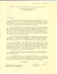 Circular letter from National Memorial Association