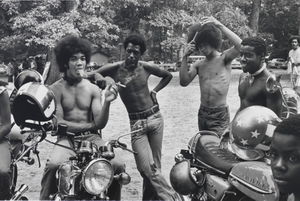 Bikers Take a Break. Sunday Afternoon in Druid Hill Park, Baltimore, Maryland, September 1973, from the series Southern Roads/City Pavements