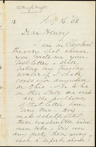 Letter from Wendell Phillips, [Cleveland, Ohio], to Henry Clarke Wright, Feb[ruar]y 16 [18]68