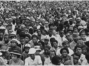 Civil Rights March on Washington, D.C. [Close-up view of a crowd at the march.], 08/28/1963