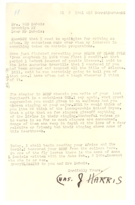 Letter from Charles J. Harris to W. E. B. Du Bois