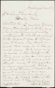 Letter from John Robert Graham Pitkin, Wash[ingto]n, [D.C.], to William Lloyd Garrison, M[ar]ch 14 [18]77