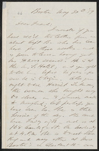 F. B. Sanborn autograph letter signed to [Thomas Wentworth Higginson], Boston, 30 May [18]59