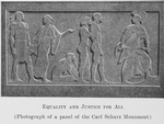 Equality and justice for all; [Photograph of a panel of the Carl Schurz Monument.]