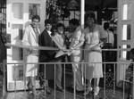 Clemon's Restaurant ribbon cutting participants Pat Russell and Diane Watson posing together, Los Angeles, 1984