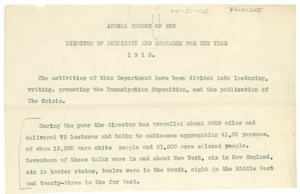 Annual report of the director of publicity and research for the year 1913