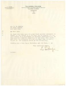 Letter from Talladega College to W. E. B. Du Bois