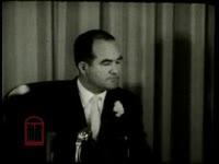 WSB-TV newsfilm clip of a press conference during which Alabama governor John Patterson condemns the Freedom Riders for instigating racial trouble and demands that the Freedom Riders and Martin Luther King, Jr. leave the state, Montgomery, Alabama, 1961 May 23