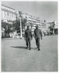 African American soldiers walking along promenade at Nice
