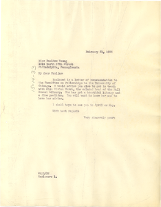 Letter from W. E. B. Du Bois to Pauline Young
