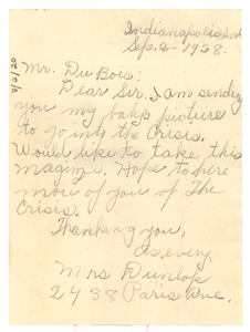 Letter from Mrs. Dunlop to W. E. B. Du Bois