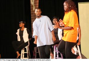A Group On-Stage During a Performance Hip Hop Broadway: The Musical