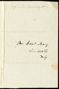 Letter from Francis Jackson, Boston, to Samuel May, April 9th, 1840