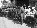 African-American soldiers on a soup line, at the YMCA