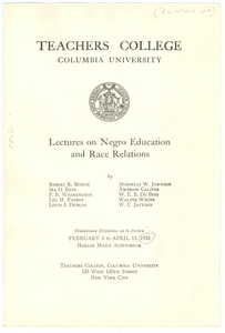 Columbia University Teachers College lectures on Negro education and race relations leaflet