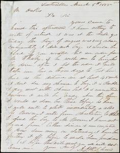 A. J. McElveen, Sumterville, S.C., autograph letter signed to Ziba B. Oakes, 8 March 1855