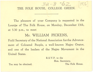 The Folk House, invitation to meet William Pickens
