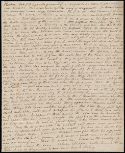 Letter from Anne Warren Weston, Boston, to Deborah Weston, Feb. 23 [and] Feb. 25, [1839?], Saturday evening [and] Monday morning