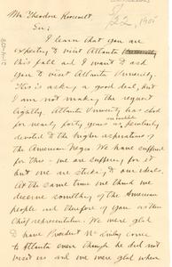 Letter from W. E. B. Du Bois to President Theordore Roosevelt