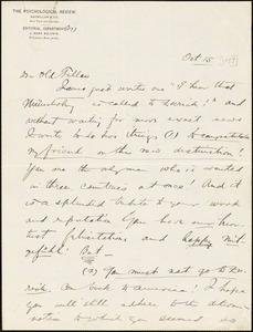 Baldwin, James Mark, 1861-1934 autograph letter signed to Hugo Münsterberg, Princeton, N.J., 15 October 1897?