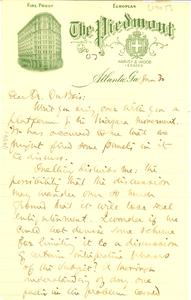 Letter from Ray Stannard Baker to W. E. B. Du Bois