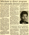 Mitchem to direct program for culturally distinct students, 1969