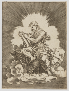 Saint John, writing, seated on an Eagle