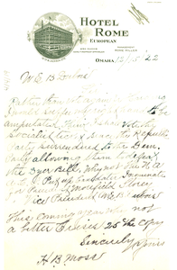 Letter from H. B. Moss to W. E. B. Du Bois