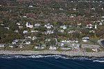 """An October 2017 aerial view of Maine's """"Two Lights,"""" two lighthouses within proximity of each other, on Cape Elizabeth"""
