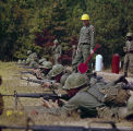 Soldiers practicing with rifles at the U.S. Army training facility at Fort McClellan near Anniston, Alabama.