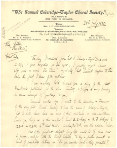 Letter from The Samuel Coleridge-Taylor Choral Society to the editor of The Crisis