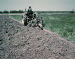 Man plowing with a John Deere tractor beside a field of crimson clover, probably in Autauga County, Alabama.