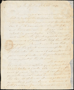 Letter from Chester Wright, Montpelier, [Vermont], to William Lloyd Garrison, 1833 Feb[ruary] 23d