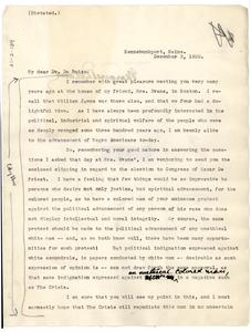 Letter from Margaret Deland to W. E. B. Du Bois