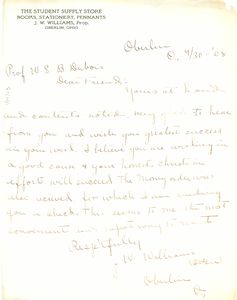 Letter from J. W. Williams to W. E. B. Du Bois