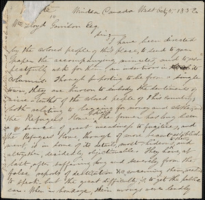 Letter from Mary Ann Shadd, Windsor, [Ontario], to William Lloyd Garrison, 1852 Oct[ober] 5
