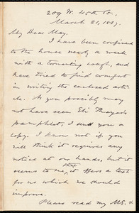 Letter from Oliver Johnson, [New York], to Samuel May, March 21, 1887