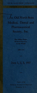 Program of the ... annual session of The Old North State Medical, Dental and Pharmaceutical Society [serial], 50th(1937)