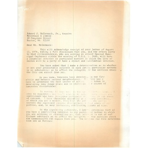 Letter, Edward J. McCormack, Jr.