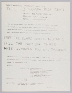 Flyer about the Nambia Three and International Women's Day 1976