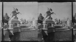 Beautiful statuary and fountains at the foot of the Cascades, Tower of Machinery Building in distance. Louisiana Purchase Exposition