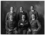 Staff in charge of all recruting and placing colored secretaries in the camps at home and overseas, World War I. Back row left to right: George L. Johnson, Max Yergan, J. Francis Gregory; Front row left to right: William J. Faulkner, Jesse Moorland, R...