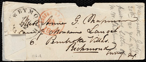 Partial letter from Maria Weston Chapman, [Weymouth, Mass.], to Anne Greene Chapman Dicey, [1862 July 21?]