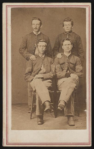 [Four unidentified soldiers from a Western regiment in Union uniforms]